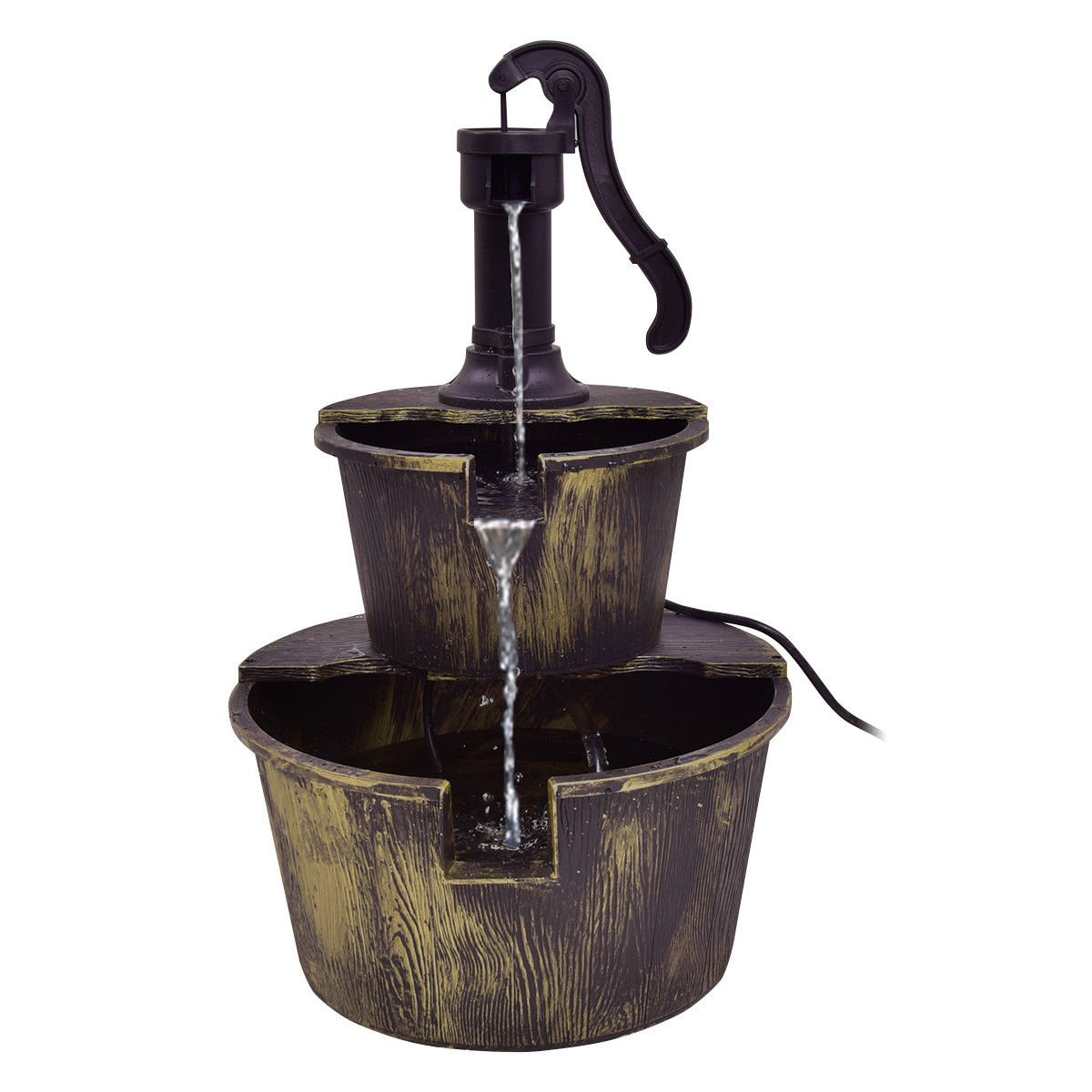 3 Tier Barrel Waterfall Fountain Barrel Water Fountain Pump Outdoor Garden