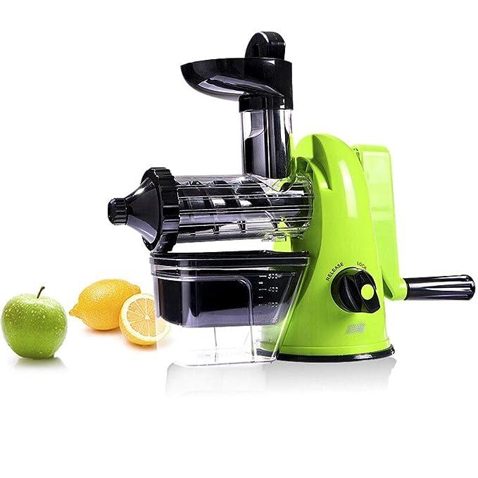 Slow Masticating Juicer - High Nutrient Fruit And Vegetable Juice, Frozen Desserts, Green - H20cm