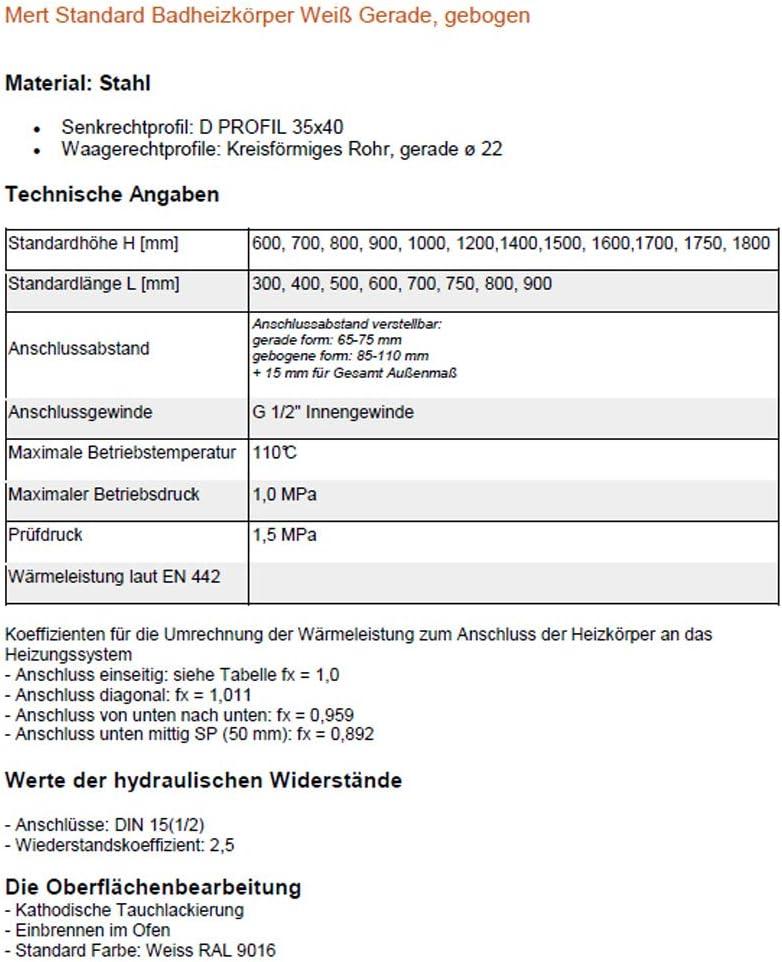 300/* 1500/mm Mert Termoarredo Bianco Dritto Attacco Medio
