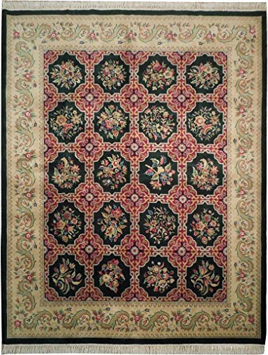 Harooni French All-Over Floral 8x10 Savonnerie Rug EMERAL Green
