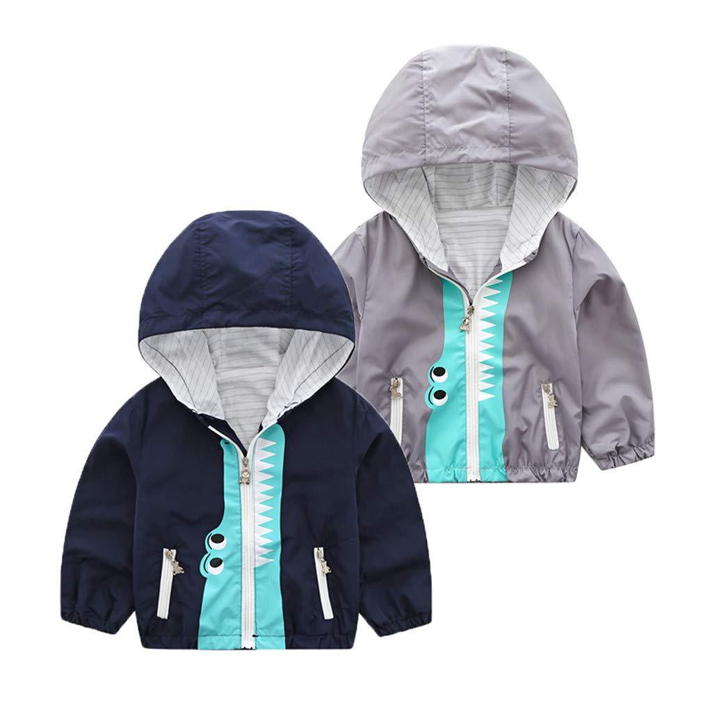 TOTAMALA Autumn and Winter Unisex Boys Girls Kids Hooded Jackets Coat Infant Toddler Baby Cartoon Dinosaur Tops Outfits