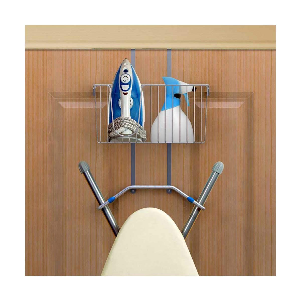 Ironing Board Hanger Wall Mounted Or Over Door Iron Holder - 3in1 Storage System - Chrome Finish BMS