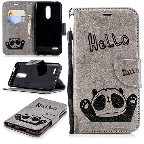 (LG K30 Case,LG Premier Pro LTE Case, LG Phoenix Plus Case, ZERMU Premium PU Leather Bear Pattern [Wrist Strap] [Kickstand Feature] Leather Wallet Case with ID and Credit Card Pockets for LG K10 2018)