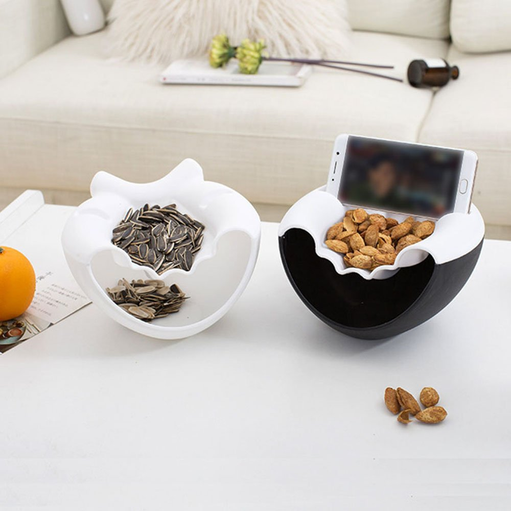 Snacks Dish Container Storage Box Double Layer Dried Fruit Plate with Cellphone Stand Holder White Everyfit- Multifunction Double Layer Fruit Dish Snack Plates Storage Box Trash Can