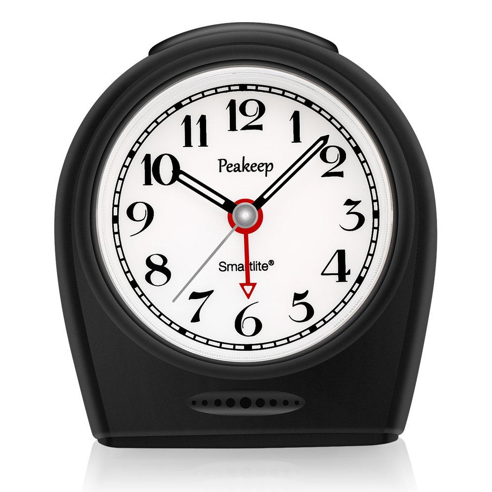Peakeep Auto Nightlight, Battery Operated No Ticking Silent Analog Alarm Clock, Snooze, Ascending Electric Beep Sounds, Easy Set