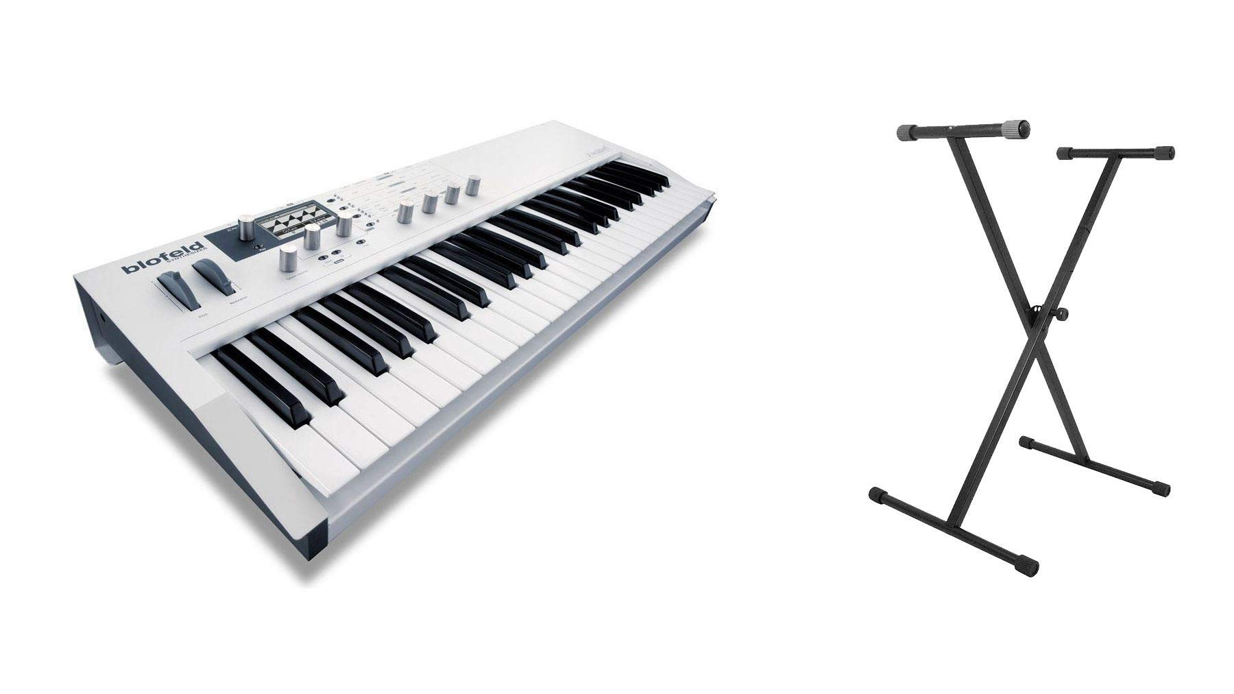 Waldorf White Blofeld Synthesizer Keyboard Bundle with On-Stage KS7190 Classic Single-X Keyboard Stand (2 Items)
