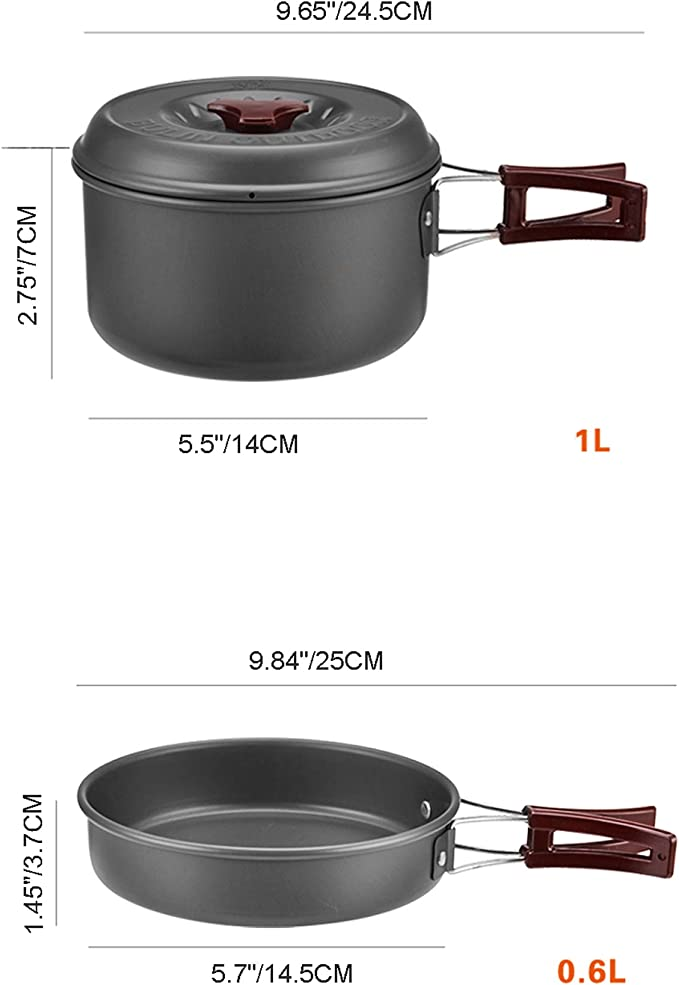 Bulin 3/5/11/20 piezas, juego de cocina para camping al aire libre, ollas de cocina de aluminio ligero para camping, ollas plegables