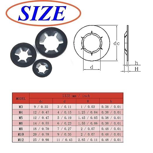 260pcs Internal Tooth Starlock Washers Locking Assortment Kit Push On 7 Size