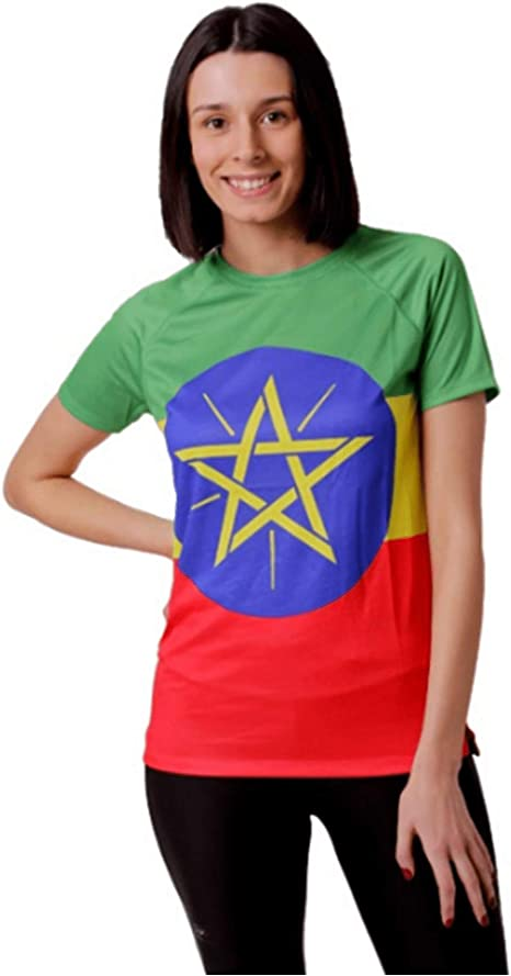 HOOPOE Camiseta Atletismo Etiopia Mujer, Manga Corta