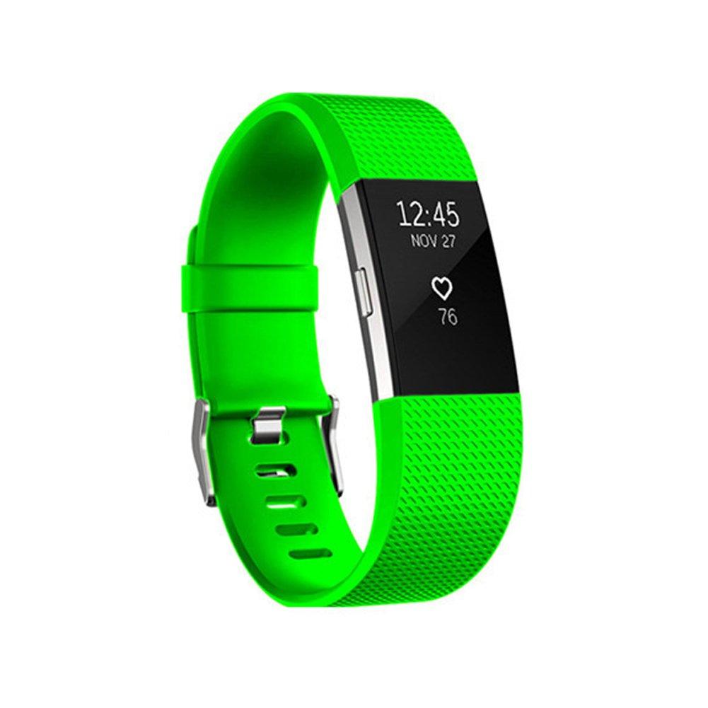 Fitbit Charge 2交換、小さい大きいサイズエラストマーバンドTpuソフトシリコン調節可能な交換スポーツストラップバンドfor Fitbit Charge 2 Small ( 5.5\ グリーン B06XD26P85