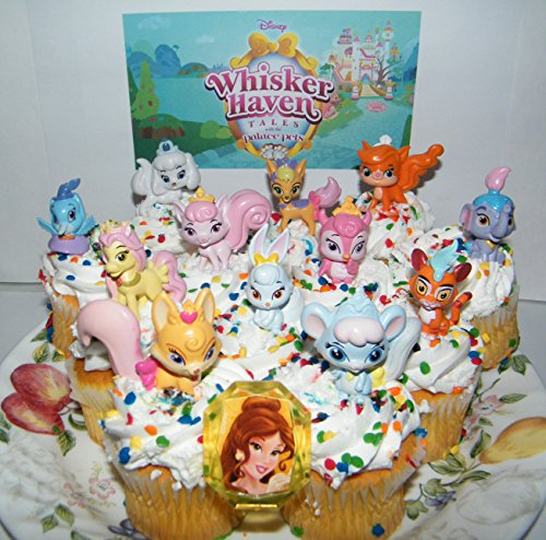 Disney Whisker Haven Tales With the Palace Pets Deluxe Mini Cake Toppers Cupcake Decorations Set of 14 with Figures, a Sticker Sheet and Toy Ring With Dreamy, Petite, Sultan and ()