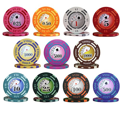YIN YANG DESIGN 14gm Clay Poker Chip Sample Set - 11 New Chips (Sample Poker Chips)