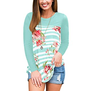 Women Tops and Blouses Long Sleeve Plus Size Tunic Tshirts Striped Floral Green XL