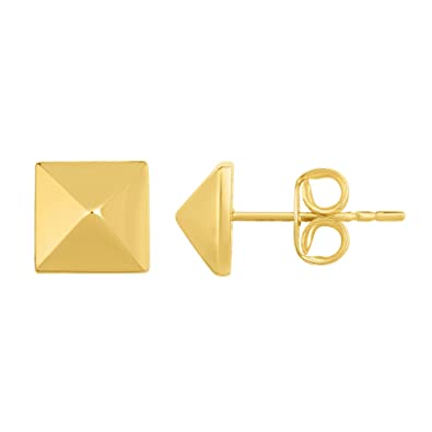 7b70a5eb7 Amazon.com: 14K Gold Yellow Pyramid Style Stud Earrings: Jewelry