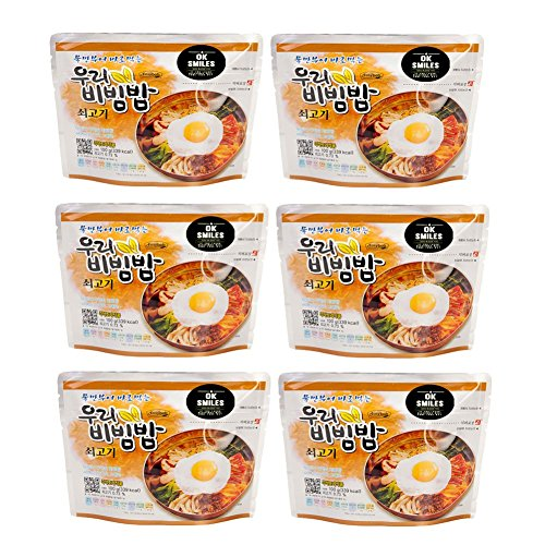 woori Korean Military MRE Bibimbap Spicy Beef Rice Food 100g/1pack (x 6Pack), MRE Meals Ready to Eat Pack of Bibimbap Korean Mixed Rice Bowl (6pack)