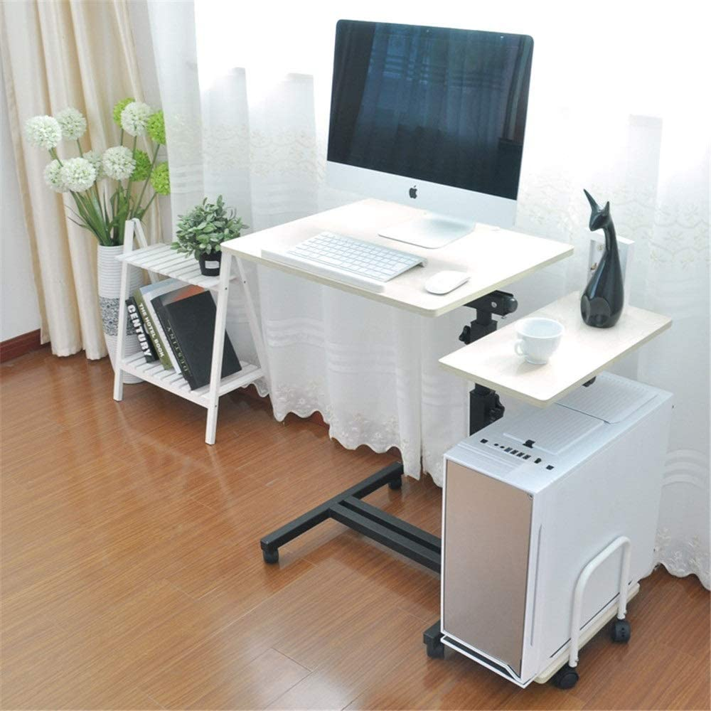 パソコンデスク パソコンデスクオフィスデスク木製コーナーデスクコンピューターワークステーション大型ゲーミングデスク勉強机ホームオフィスTABL Eコンピュータデスク 引出収納 (Color : Beige, Size : 83*48*70-100cm)