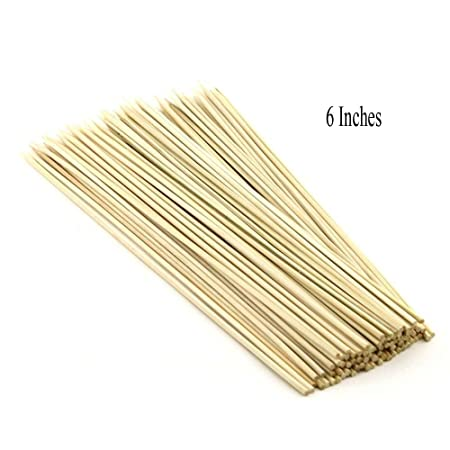 Pindia 6 Inches (Set of 100pc) Bamboo BBQ party sticks / Fruit skewer / kabab Skewer / Long BBQ Toothpicks