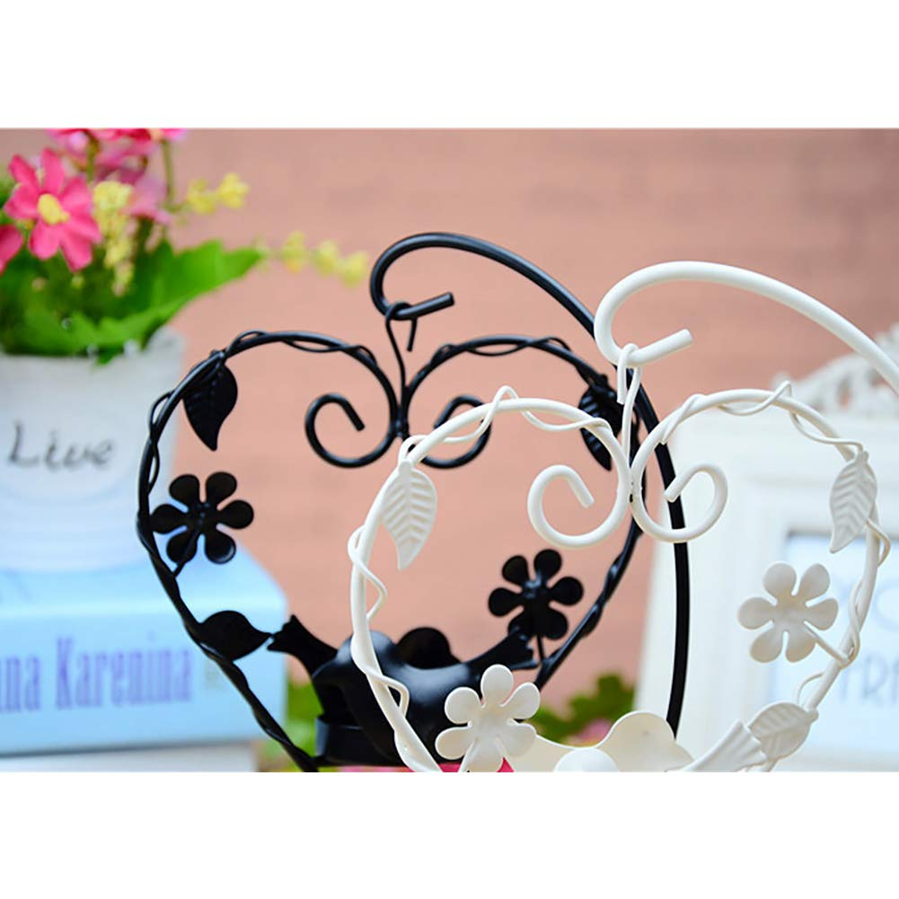 Unicoco Heart Bird Candle Holder Black Wedding Party Vintage Tealight Candlestick Iron Bird Hollow Candle Holder