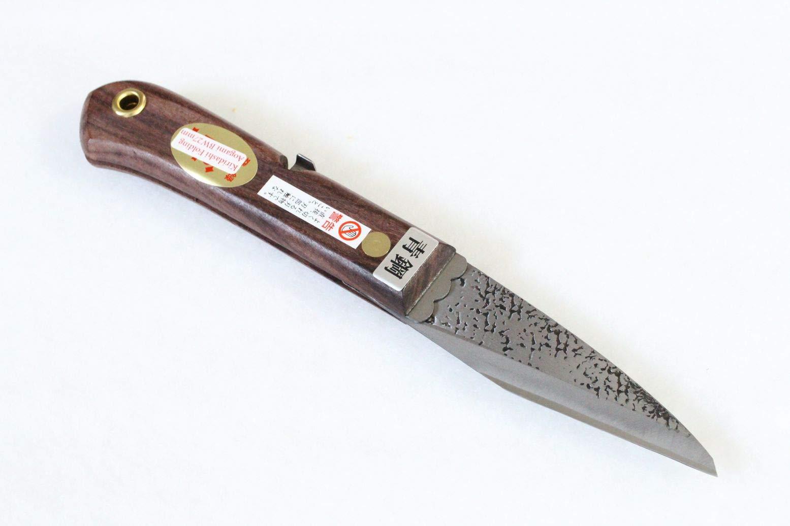 Kiridashi Knife Japanese Grafting Folding Woodworking Aogami Yasuki Blue 2 Steel Fujiwara Blade Width 27mm