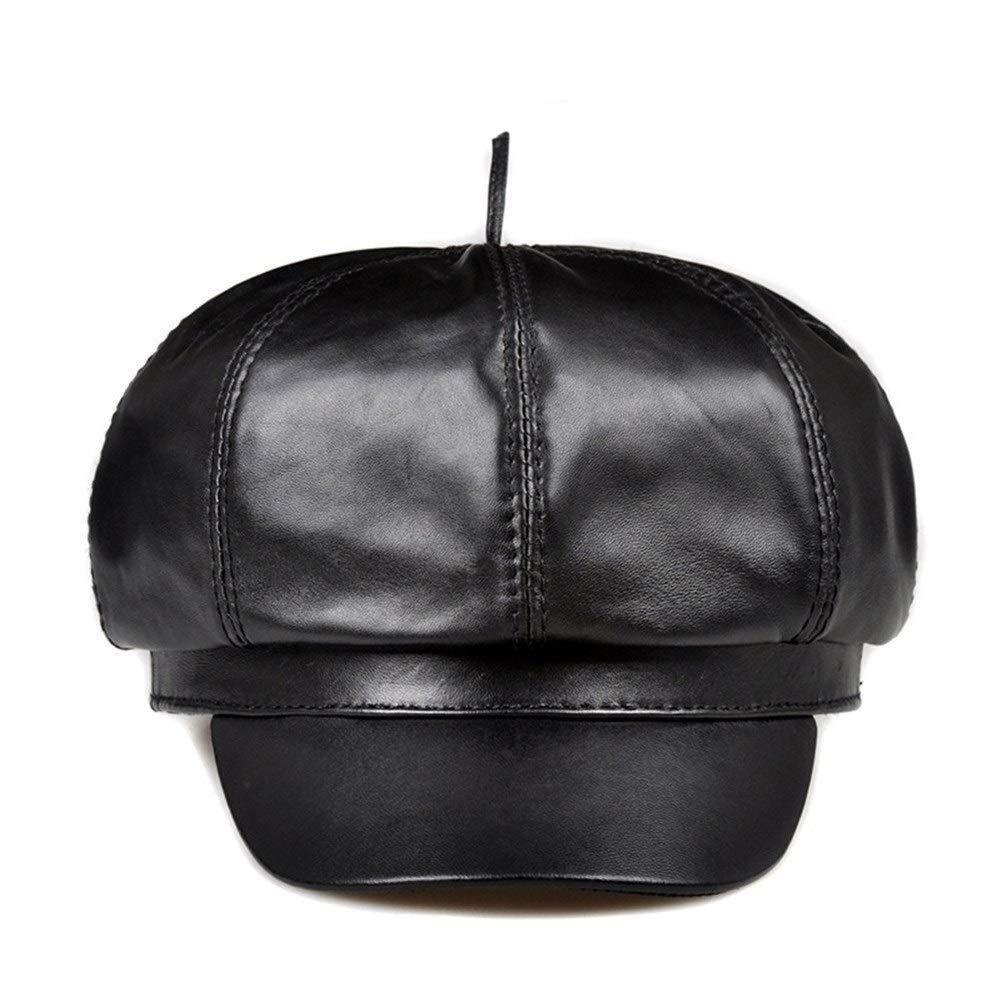 Chuiqingnet Vintage Genuine Leather Adjustable Women Beret Hat for Travel (Color : Black, Size : XL (57-58cm))
