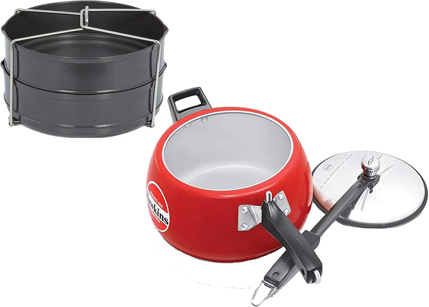 Hawkins Contura Ceramic Coated 5 LTR Tomato Red Pressure Cooker with Hard Anodised 2 Pc Separater Cooker Dabba and Stand