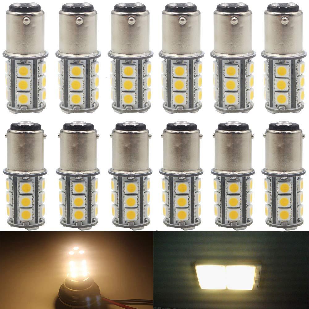 AMAZENAR 12-Pack BA15D 1142 Soft Warm White 3000k LED Light 12V-DC, 5050 18 SMD Car Replacement For Interior RV lighting Camper Turn Signal Light Lamps Tail BackUp Bulbs Amazenar(TM)