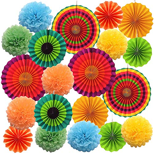 Maylai 22Pcs Fiesta Party Supplies Paper Fan Decorations,Tissue Paper Pom Poms Flowers Hanging Paper Fans and Honeycomb Balls for Cinco De Mayo Fiesta Party Decorations (Best Way To Paper Mache A Balloon)