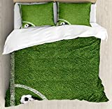 Sports Decor Queen Size Duvet Cover Set by Ambesonne, Soccer Ball in Corner Kick Position Football Field top View Grass Lawn Terrain, Decorative 3 Piece Bedding Set with 2 Pillow Shams