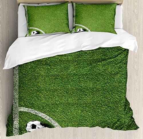Sports Decor King Size Duvet Cover Set by Ambesonne, Soccer Ball in Corner Kick Position Football Field top View Grass Lawn Terrain, Decorative 3 Piece Bedding Set with 2 Pillow Shams by Ambesonne