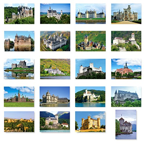 CASTLES of Europe postcard set of 20. Post card variety pack depicting castle collection postcards. Made in USA.
