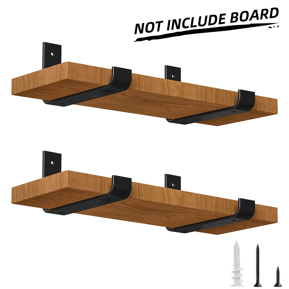 LuckIn Heavy Duty Shelf Bracket 8 Inch, Rustic Black Wall Bracket for Floating Shelf, Forged Steel Shelf Bracket, 4 Pack by LuckIn
