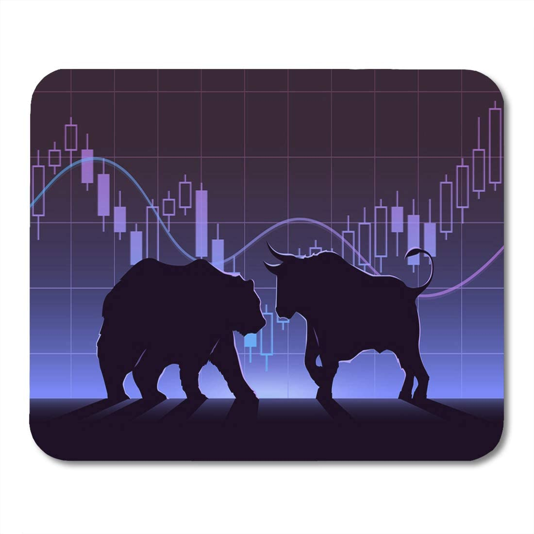 Nakamela Mouse Pads Black Street Stock Exchange Trading The Bulls and Bears Struggle Equity Market Concept Modern Flat Design Mouse mats 9.5 x 7.9 Mouse pad Suitable for Notebook Desktop Computers