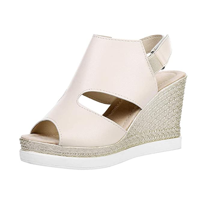 c43a72972 2019 Fashion Women Summer Outdoor Rome Peep-Toe Sandal Flat Solid Color  High Heel Wedge