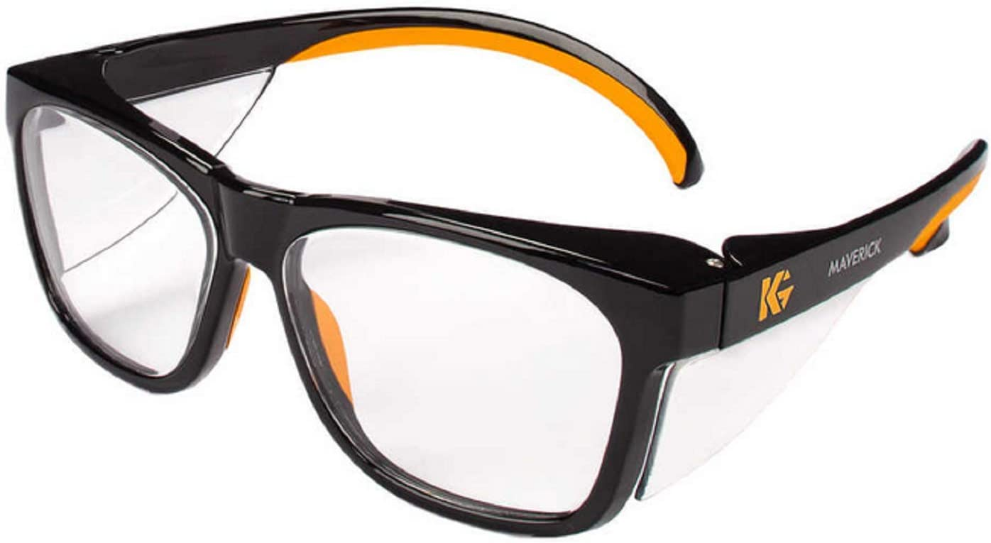 Kleenguard Maverick Safety Glasses with Intergrated Side Shields (1 Pair) (49312 Clear Anti-Glare Lens with Black Frame and Orange Tips)
