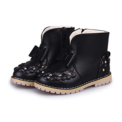 Auwer Children Warm Boys Girls Bowknot Floral Sneaker Martin Boots Kids Baby Winter Snow Boots Casual Shoes