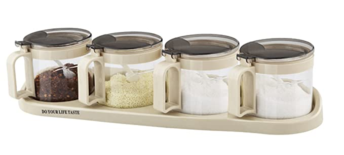 1 opinioni per Tenta Kitchen Airtight Glass Seasoning Box Set- 4 Serving Spoons- Non Slip Base-