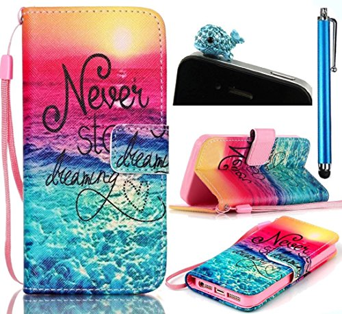 iphone 5C Leather Case,Sunroyal Beautiful Sunset Seaside Scene,Soft Silicone Inside Ultra-slim Magnet Kickstand Flip Cover with Handy Wrist Strap+Blue Cute Dolohin Anti-dust Plug+Stylus Pen