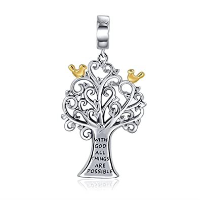 8e4837eee With God All Things Are Possible Religion Jewellery Family Tree of Life 925  Sterling Silver Charms Valentines Day Fit Bracelets Necklace: Amazon.co.uk:  ...