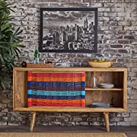 Felan Natural Finished Solid Mango Wood Side Board with Red and Blue Cotton Panel