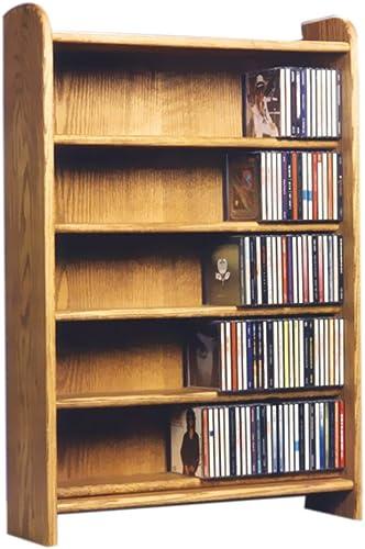 Cdracks Media Furniture Solid Oak 5 Shelf CD Cabinet Maximum Capacity 330 CD s Honey Finish