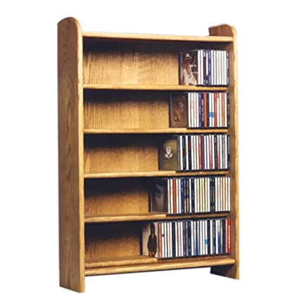 Cdracks Media Furniture Solid Oak 5 Shelf CD Cabinet Maximum Capacity 330  CDu0027s Honey Finish