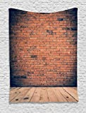 Ambesonne Vintage Decor Collection, Old Fashioned Bricks in Dark Room with Antique Wood Floor Vintage Ancient Retro Room Decor, Bedroom Living Room Dorm Wall Hanging Tapestry, Red