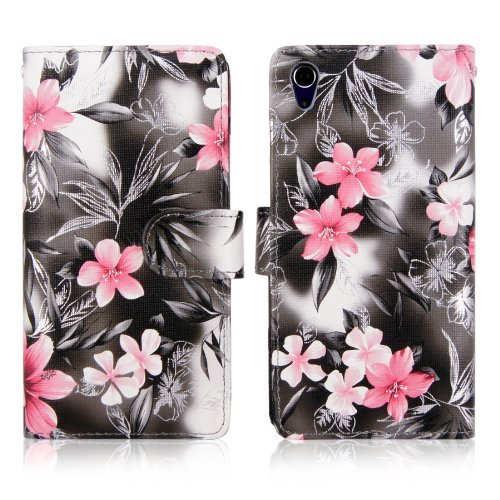 Cellularvilla Wallet Case for Sony Xperia Z2 D6503 Pu Leather Wallet Card Flip Open Pocket Case Cover Pouch (Black Pink Flower)