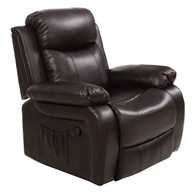 TANGKULA Ergonomic Massage Sofa Chair Head Supported Recliner Swivel Heating w/Control (Brown)
