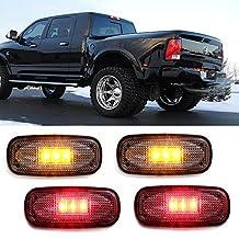 iJDMTOY (4) Clear Lens LED Fender Bed Side Marker Lights Set For Dodge RAM 2500 3500 HD Truck (2 x Amber, 2 x Red)