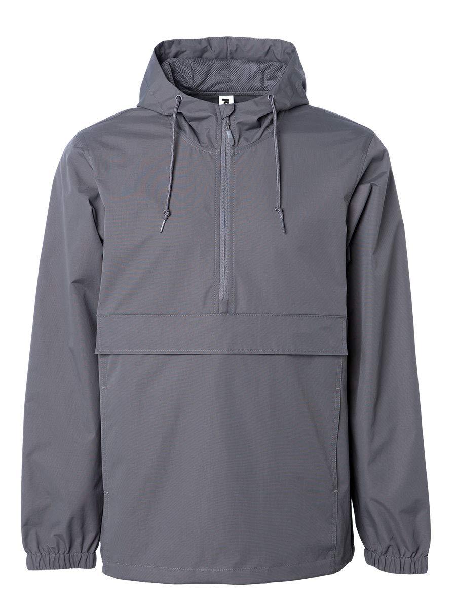 Global Blank Mens Hooded Lightweight Windbreaker Waterproof Zip Jacket Gray XL by Global Blank