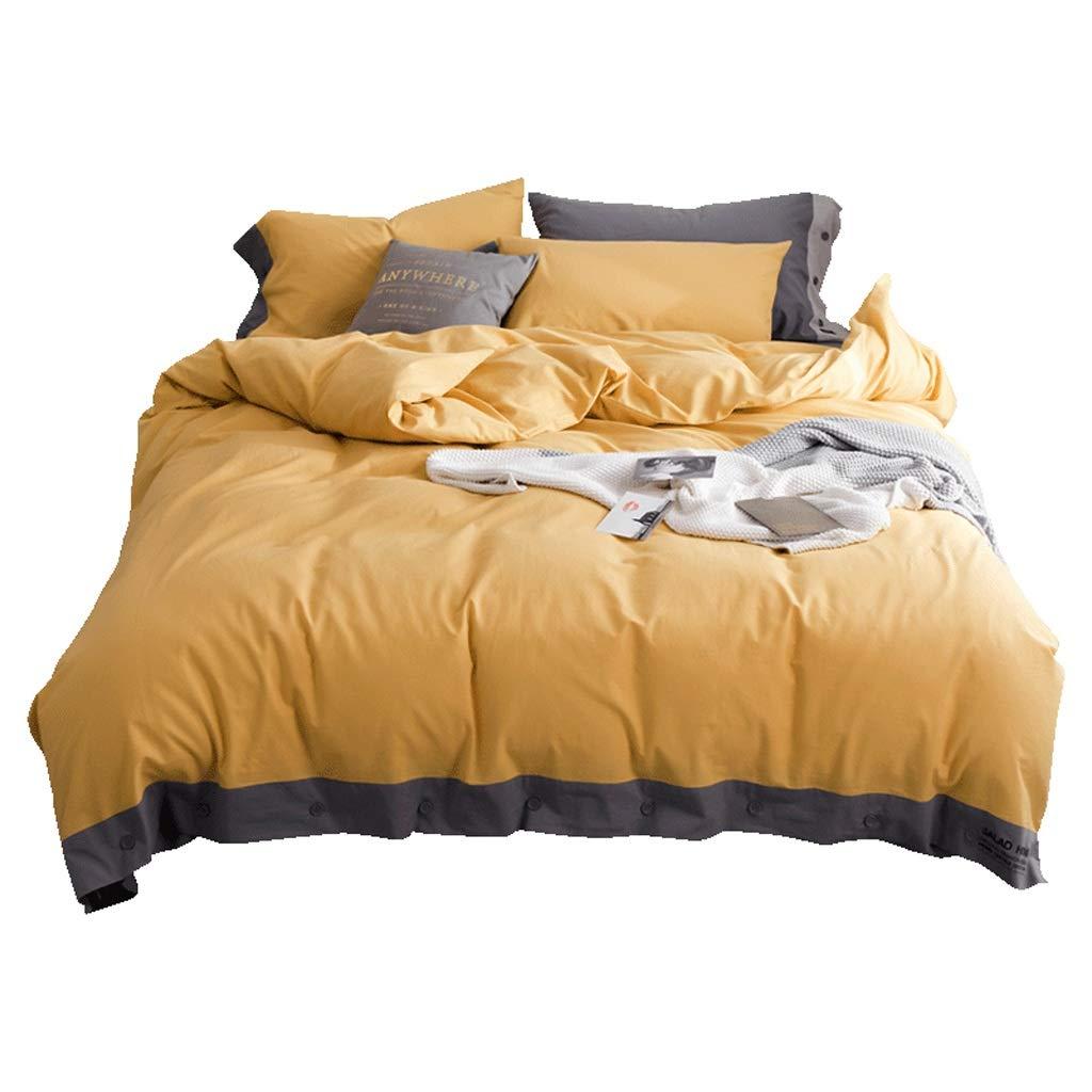 Fmn Bettwäsche 100% Reiner Baumwolle 4 Stück komplettes Bett Set enthält X1 Bettbezug X2 Kissenbezüge und X1 Spannbetttuch gelb (größe   1.8m (Quilt Cover 200cmX230cm))
