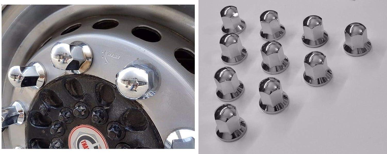 24//7Auto Lot de 30 Capuchons de boulons 32 mm en Plastique chrom/é pour Roue Camion remorque