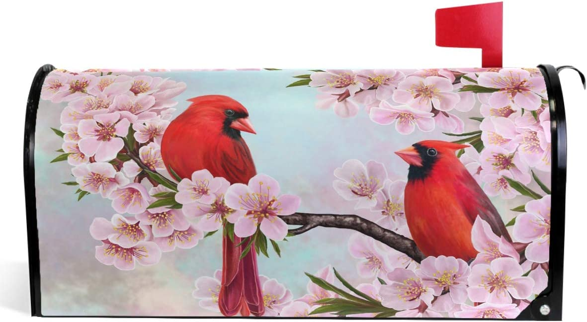 "Wamika Spring Flowers Birds Mailbox Covers Magnetic Summer Sakura Red Cardinal Mailbox Cover Oversized 25.5"" X 21"" Mailbox Wraps Post Letter Box Cover Home Garden Decorations"