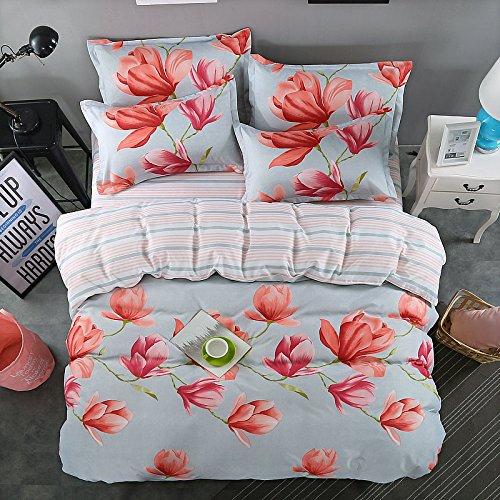 Cheap Kids/Adults 4pcs Beddingset Duvet Cover No Comforter Top Sheet Pillowcase FD Twin Full Queen Season Flower Myth Design (Queen, Dream Flower, Pink) for cheap